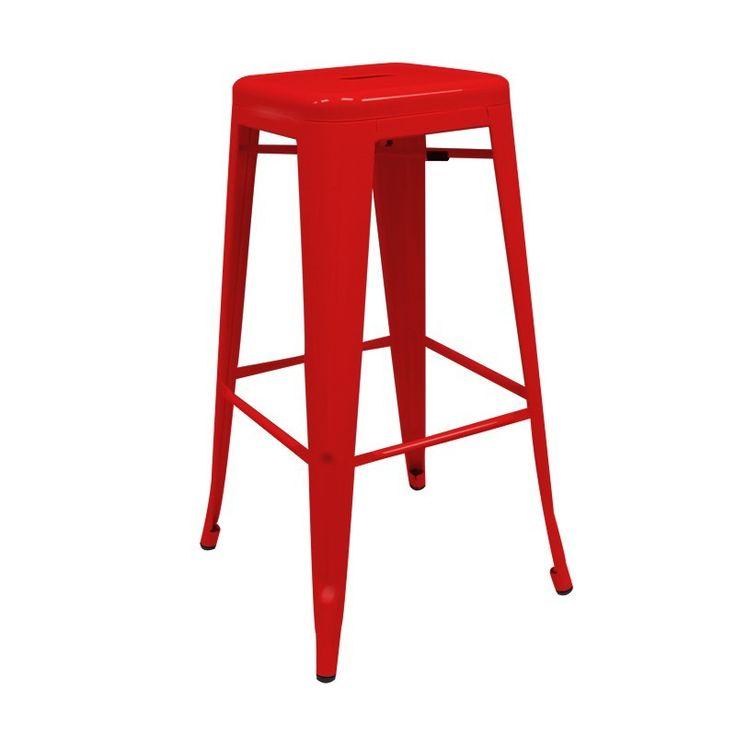 ¿Buscas taburetes metálicos apilables de estilo industrial? Descubre este taburete alto para casa o bar rojo con entrega en 24/ 48h. #cocinas #barras #bar