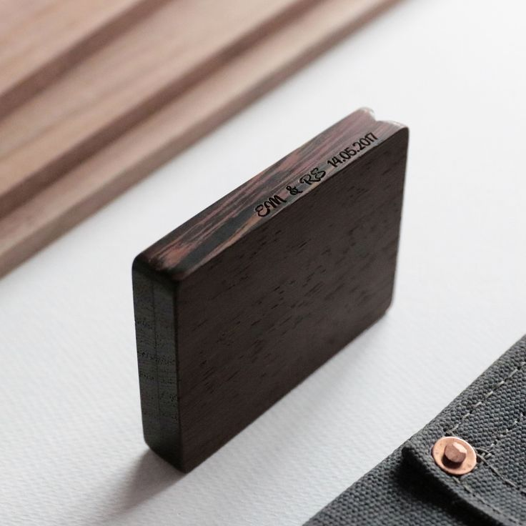 Thin Engagement Ring Box By Woodsbury. African Wenge Timber