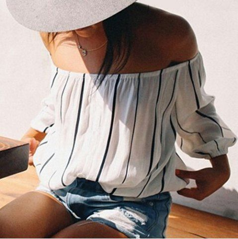 Stylish Three Quarter Sleeve Off-The-Shoulder Striped Women's Blouse Blouses | RoseGal.com Mobile