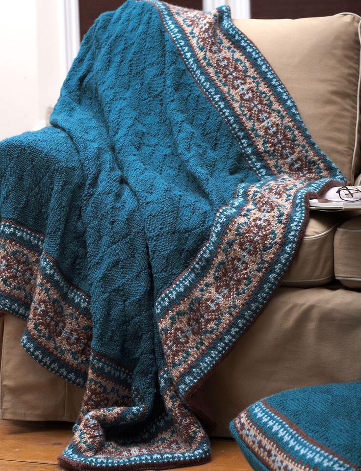 Fair Isle Border Blanket And Pillow Knitting Patterns