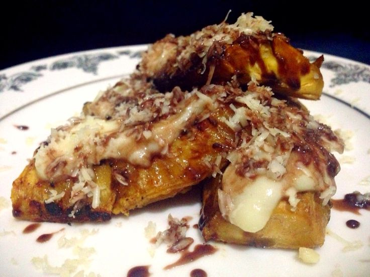 Banana roasted with cheese, chocolate and sauce durian