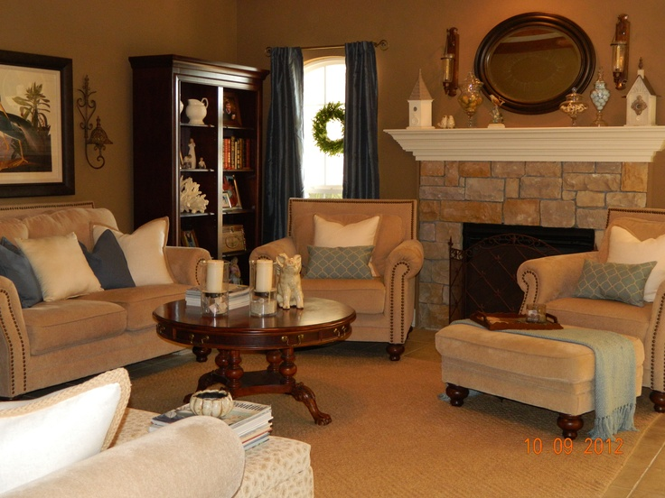 Marvelous Sand Colored Chenille Furniture From Ashleyu0027s, Drapes From Burlington Coat  Factory, Wreathu0027s Hanging