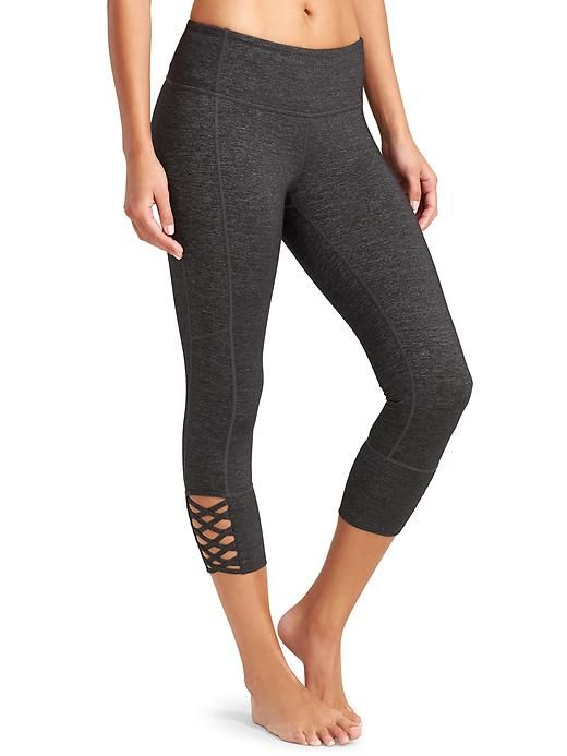 Quest Mind Over Mat Capri MEDIUM - Add a twist to your practice with a strappy lattice calf design and our luxe-feeling Quest fabric.