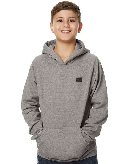 Features: Style: Boys Hoodie Colour: Grey Material: 60% Cotton and 40% Polyester Regular fitPull-over design Fixed hood Pouch pocket Printed logo label detail at left chest Ribbed trims Woven logo label
