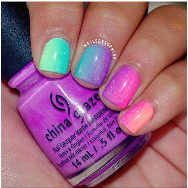 pretty two tone nails. china glaze nail ideas inspiration bright summer pink purple green blue orange art design