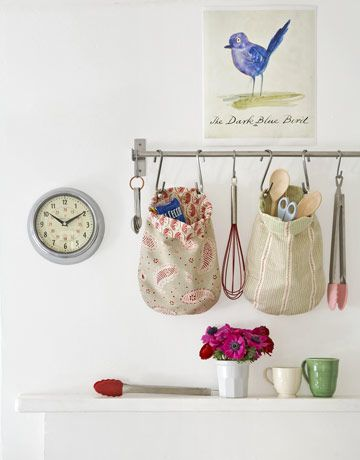 How to make cute bags to stash kitchen gadgets. this wouldn't work