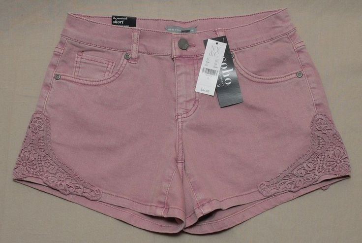 New York & Company Women Teen Jean Shorts Soho Montauk Crochet Purple Size 0 #NewYorkCompany #TheMontaukShort