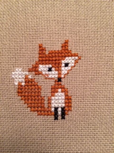 tiny cross-stitch fox ornament for cinnamonteal in Round 9 of the Stocking Swap @ craftster.org: