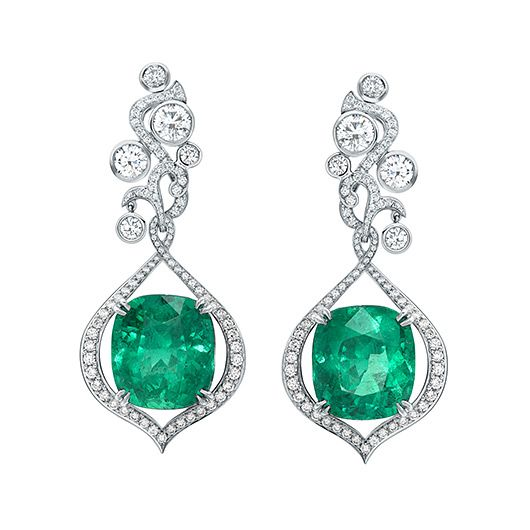 Greenfire An ethereal green fire burns within richly coloured emeralds, their luminosity symbolising a beam of light as it strikes through forest foliage. Petal shaped flames dance amongst swirling tendrils creating a natural harmony between the elements: earth and fire. Featuring the finest untreated Colombian Emeralds from the Muzo mines. View the piece in our Harrods boutique.