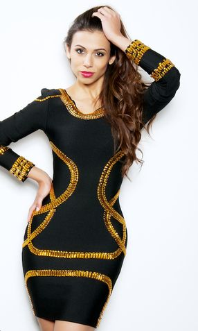 'BEYONCE'  LONG SLEEVE GOLD BEADED BANDAGE DRESS