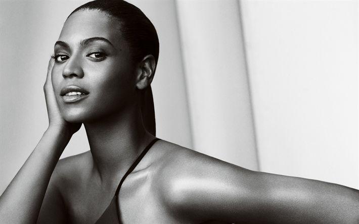 Descargar fondos de pantalla Beyoncé, la cantante Estadounidense, retrato, blanco y negro, vestido negro, maquillaje, Beyonce Giselle Knowles