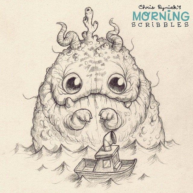 artist chris ryniak - Giant monster or tiny boat? You decide! . #morningscribbles