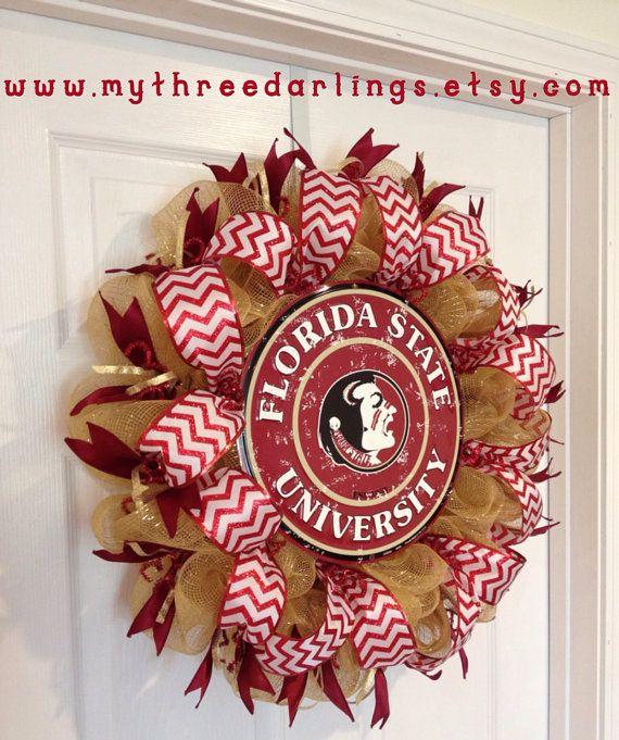Custom Collegiate Team Wreath  YOU CHOOSE TEAM  by MyThreeDarlings, $80.00