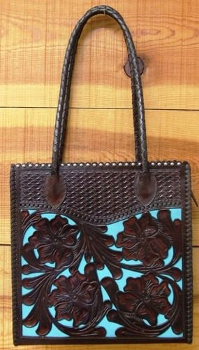 VQ1CO A FABULOUS TOTE! INCREDIBLE CRAFTSMANSHIP! BOTH SIDES ARE HAND CARVED, HAND TOOLED, AND BEAUTIFULLY LACED.