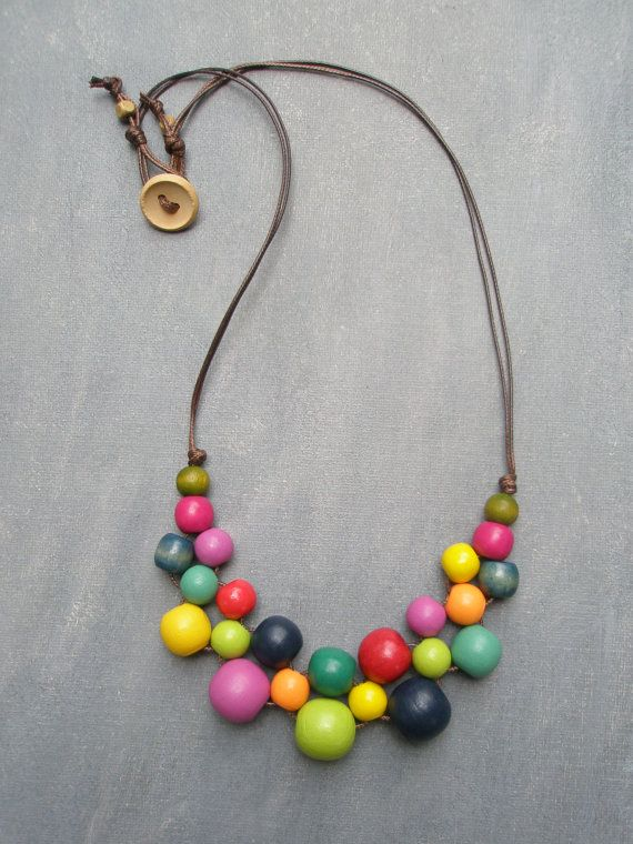 Multi Colored Wooden Bead Bib Necklace by VibrantDesign on Etsy