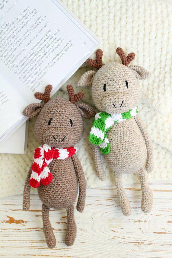 6649182a5f1 Set of 2 crochet toy Moose animal toy Christmas Moose Elk toy ...