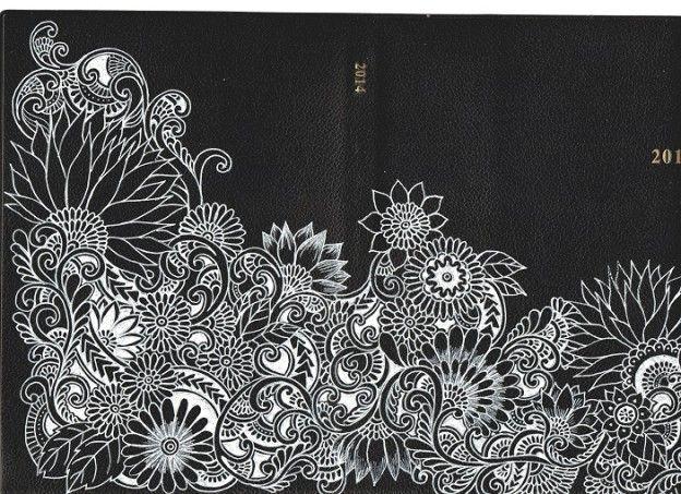 合皮のブックカバーにボールペン画 | Noah's ART Gallery