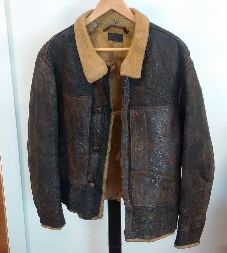 Leather WW2 Bomber Jacket - Air Force Vintage - Rare - Sheepskin