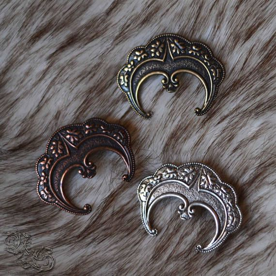 Barrette The Wiccan Moon - Wiccan celtic medieval gothic pagan crescent  moon silver copper bronze spiritual wiccah spell - North Shaman