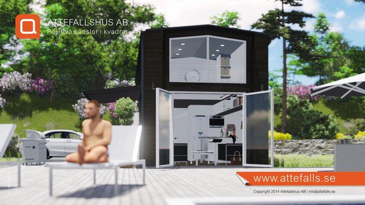 """En inbjudande vy över vårt attefallshus """"25 kvadrat Kärlek"""". Det börjar bli hög tid att planera in sitt attefallshus till kommande vår. Har ni funderingar om ett eget, tveka inte att kontakta oss! info@attefalls.se www.attefalls.se #gästhus #minivilla #fritidshus #friggebod #ministuga #attefallshus"""