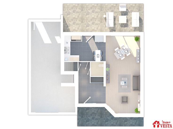 Plan du rez-de-chaussée du modèle Côme (demi-niveau, style contemporain). Surface : 104m² + 34.44 m² surface annexe