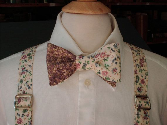 Floral Bow Tie And Suspender Set / Custom Made Pre-tied