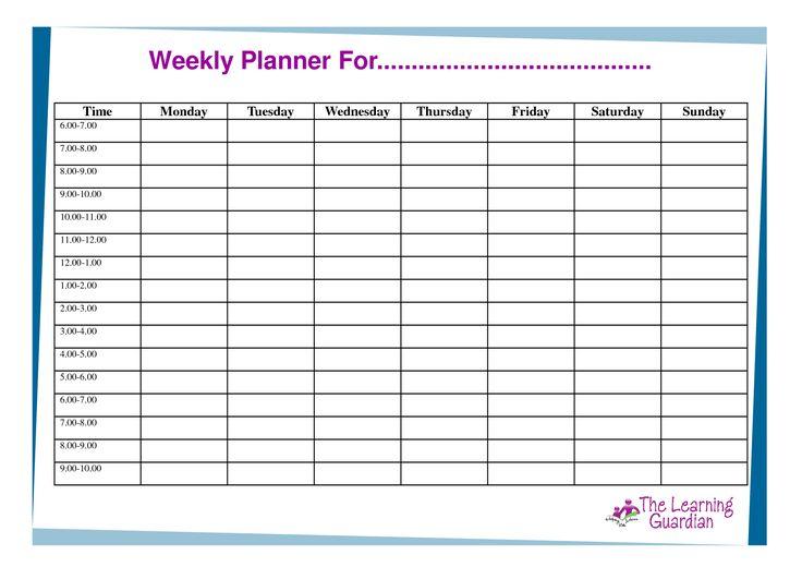 ... , Printable Weekly Calendar Templates Weekly Planner For Time Monday