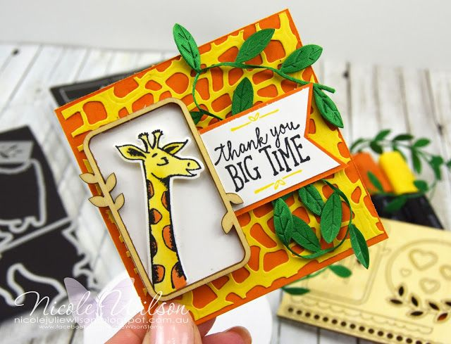 Nicole Wilson Independent Stampin' Up!® Demonstrator Animal Outing Thank You Card using Animal Friends Thinlits & Leaf Ribbon #stampinup #onstage #onstage18 #stampinup30 #nicolewilsonstamp #animalouting #jungle #giraffe