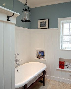 wainscoting and hooks cubbies in the wall and a look at wider bead board