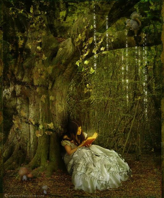 In a quiet forrest, lit by the light of the moon she sat and read from the Book of Eden.