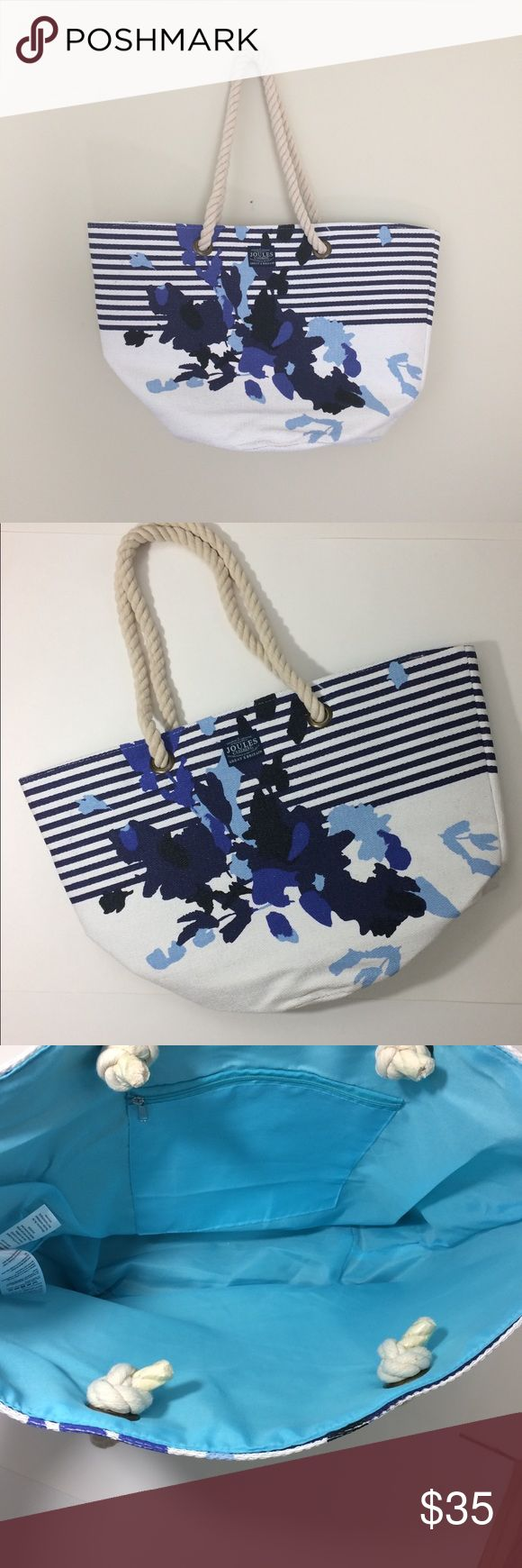 🆕 LISTING NWOT Joules Floral & striped bag Brand new & never used! Joules oversized summer tote has a long chunky rope handle & an inside zippered pocket. Tons of room to hold your books, beach towel, etc. Have a question leave it in the comments. Joules Bags Totes