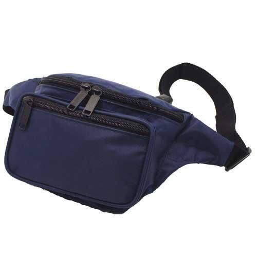 3 Zippered Compartments/Classic Fanny Pack / Hip Pack, Navy  It's called a fanny pack, belt pack, belly bag, Buffalo pouch, hip sack, hip pack, bum bag, Joe bag, man bag, or whatever you want to call. One thing is for sure, it's proven to be a travelers best friend. Fanny Packs are useful for keeping valuables things like money, ID's, and Passports close to you at all times when you're traveling. They're also good for easily accessing items you use regularly like pens, notepad, makeup…