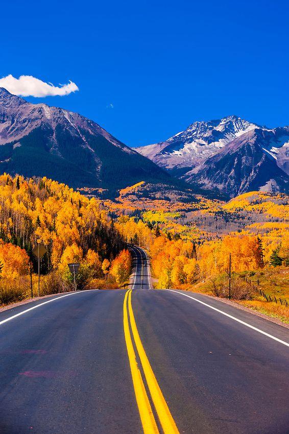 Fall color, Colorado Highway 145 in the San Juan Mountains, near Telluride, Colorado USA.