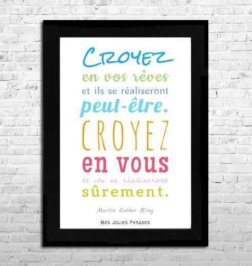 """Affiche A4 : """"Croyez en vos rêves..."""" (couleur) : Affiches, illustrations, posters par mes-jolies-phrases"""