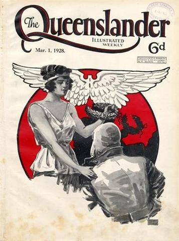 Cover of The Queenslander weekly magazine, 1 March 8 1928,  celebrating Bert Hinkler's completion of the first solo flight between England & Australia (Feb 1928)