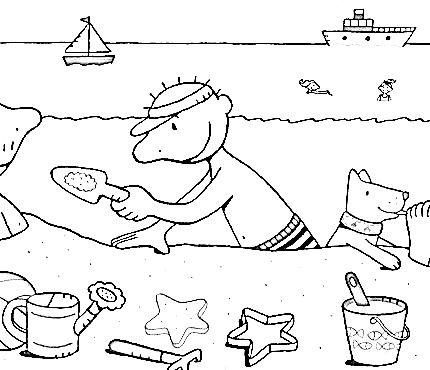 Water en zand! kleurplaat