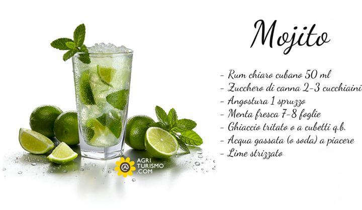 Vogliamo simbolicamente offrire a tutti voi un mojito, uno dei nostri cocktail preferiti !! Quindi amici, una buona serata da http://www.agriturismo.com/  Ma sapete come si fa amici ?! Eccovi la ricetta: In un bicchiere da long drink (tumbler alto) ponete le foglie di menta e lo zucchero di canna; servendovi di un pestello schiacciatele contro il lato del bicchiere così da sprigionare l'aroma della menta. Aggiungete il succo di lime (circa 1/5 della bibita) e pestate ancora per qualche…