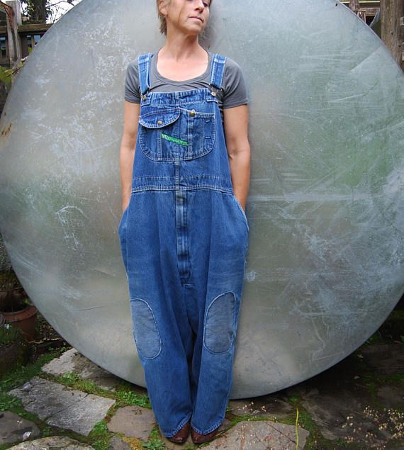 "Vintage XXL Key Overalls - Lightly Distressed with Knee Patches - 54"" Waist"