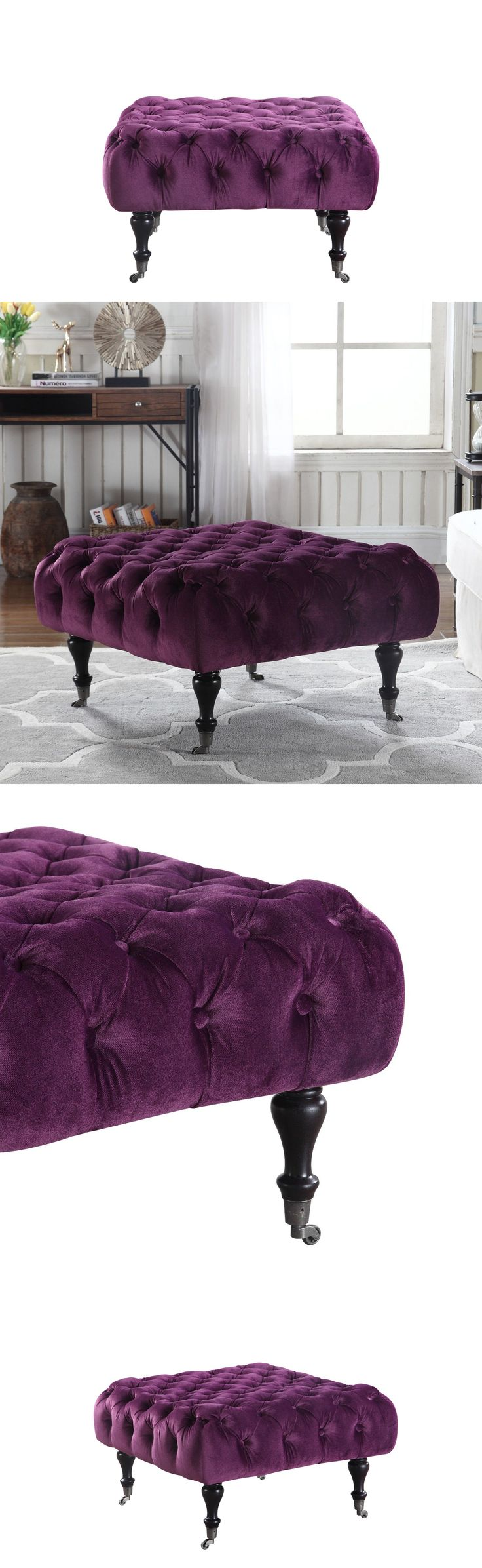 Benches and Stools 103431: Classic Tufted Velvet Footrest Footstool Ottoman With Casters (Purple) -> BUY IT NOW ONLY: $74.99 on eBay!