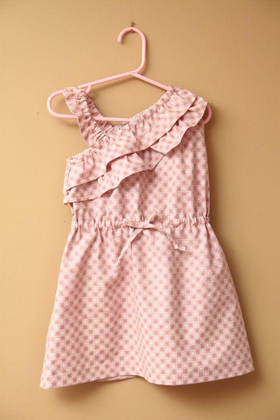 Girl's Dress PDF Sewing Pattern - The Big Girl Gem One Shoulder Ruffled Dress Sizes 6-10