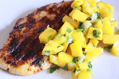 Chili Rubbed Chicken with Mango Mint Salsa