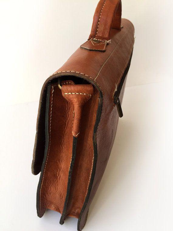 Men leather laptop bag, THE BUSINESSMAN - Brown briefcase, Retro handbag, Vintage look bag, Genuine leather handmade bag, Office bag for men