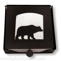 Wrought Iron Bear 2 Piece Napkin Holder