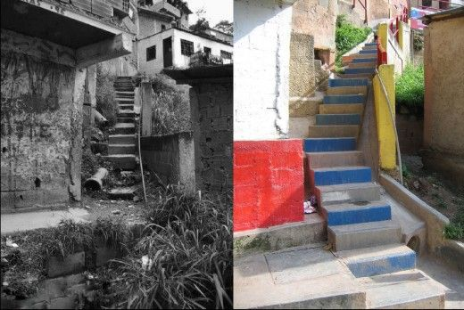 Before and after in the San Rafael-Barrio Unido sector in La Vega settlement, Caracas, Venezuela