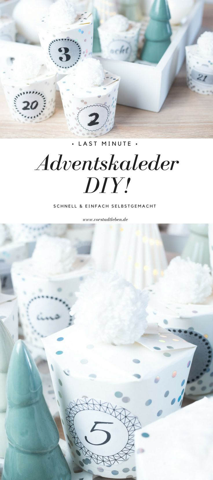 Adventskalender schnell und einfach selbstgemacht. Alles was Ihr braucht sind Pappbecher und Wolle - und mit ein paar Schnitten mit der Bastelschere wird ein zauberhafter Adventskalender draus...   #adventskalender #diy #basteln #selbstgemacht