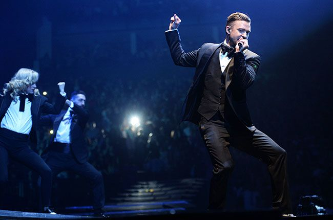 April 1:  Justin Timberlake performs on his 20/20 Tour at The O2 Arena in London, England.