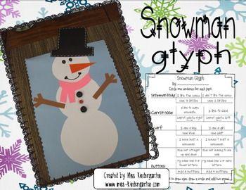 Snowman Glyph Bulletin Board Idea free