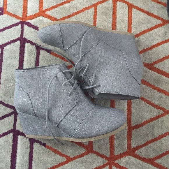 "Gray fabric wedge bootie Gray wedge bootie. About 2"" tall, have laces! Super cute brand new, never wore. Smoke free home. Make an offer!! Maurices Shoes Ankle Boots & Booties"