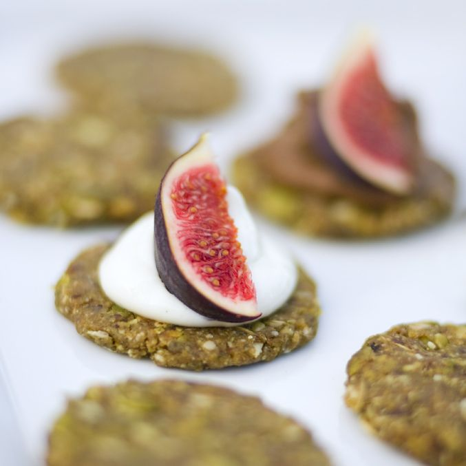 Pumpkin Seed Cakes. made with dates and topped with raw chocolate mousse or lime yoghurt mousse