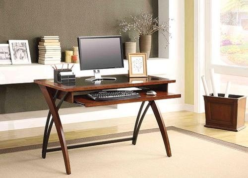 Whalen 48 Walnut Finish Genesis Glass Top Writing Desk At